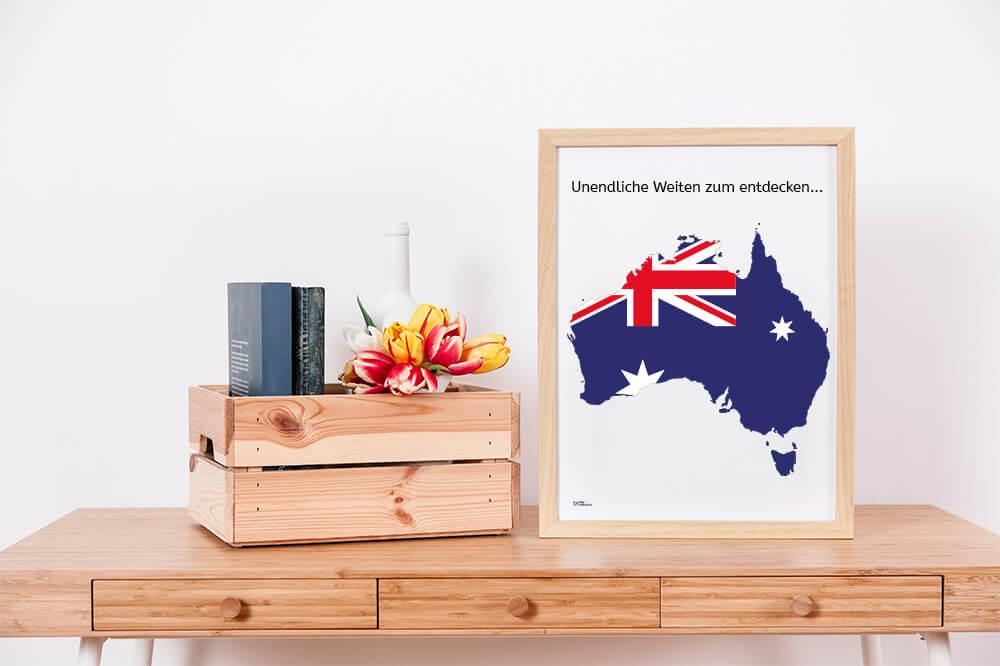 Australienkarte als Wanddekration