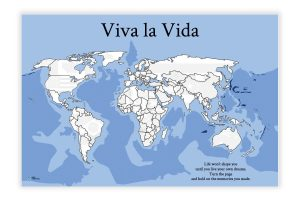 Weltkarte als Wandbild mit Flaggen