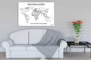 Weltkarte mit Flaggen zum markieren der bereisten Länder