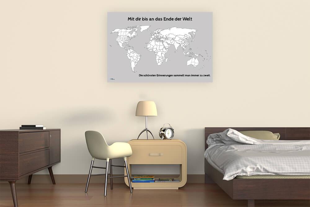 Weltkarte als Wandbild zum Ausmalen