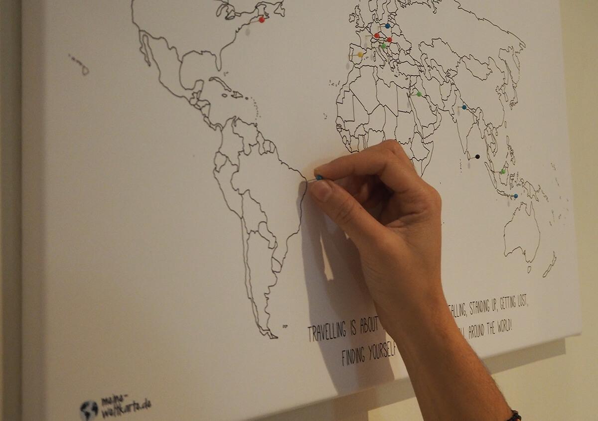Weltkarte zum pinnen