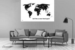 Dekorative Weltkarte kantig