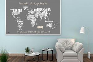 Weltkarte zum markieren der bereisten Länder