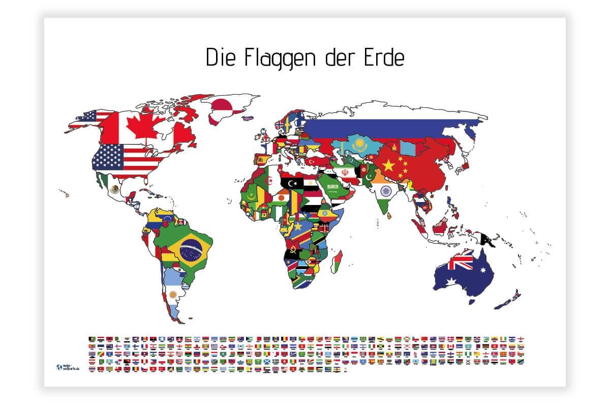 Weltkarte Flaggen